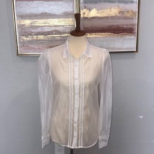 Sheer White Button-up Blouse